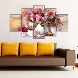 Vazoda Çiçekler 5 Parçalı Kanvas Tablo - Thumbnail