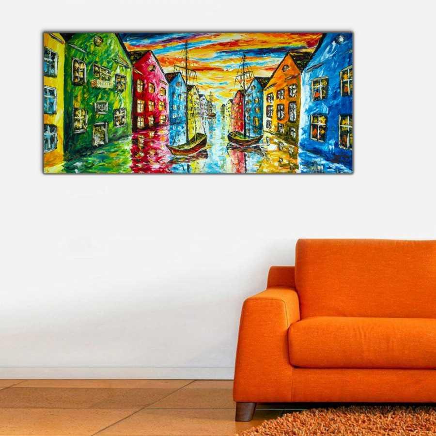 Venedik Renkleri Panoramik Kanvas Tablo