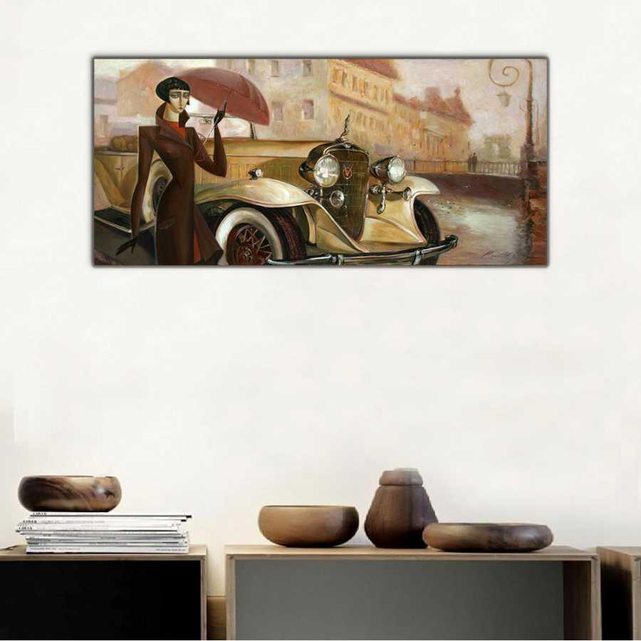Vintage Araba ve Şemsiyeli Kadın Panoramik Kanvas Tablo