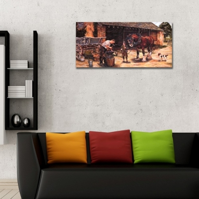 At Bakıcısı Panoramik Kanvas Tablo